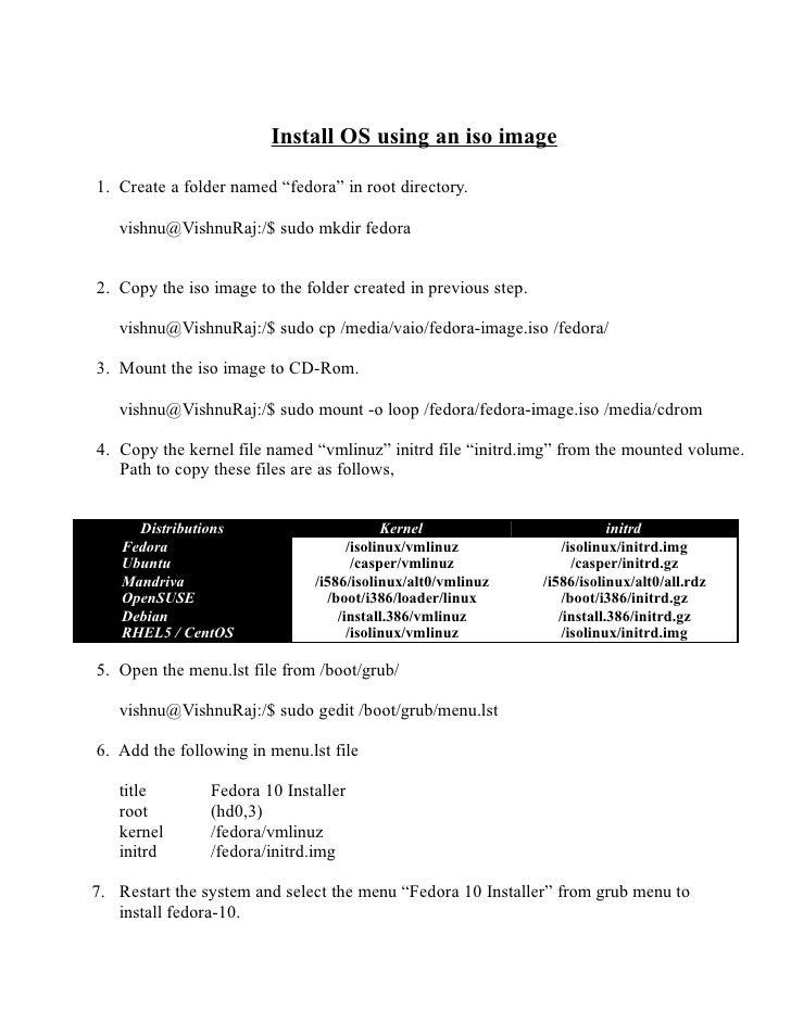 "Install OS using an iso image  1. Create a folder named ""fedora"" in root directory.     vishnu@VishnuRaj:/$ sudo mkdir fed..."