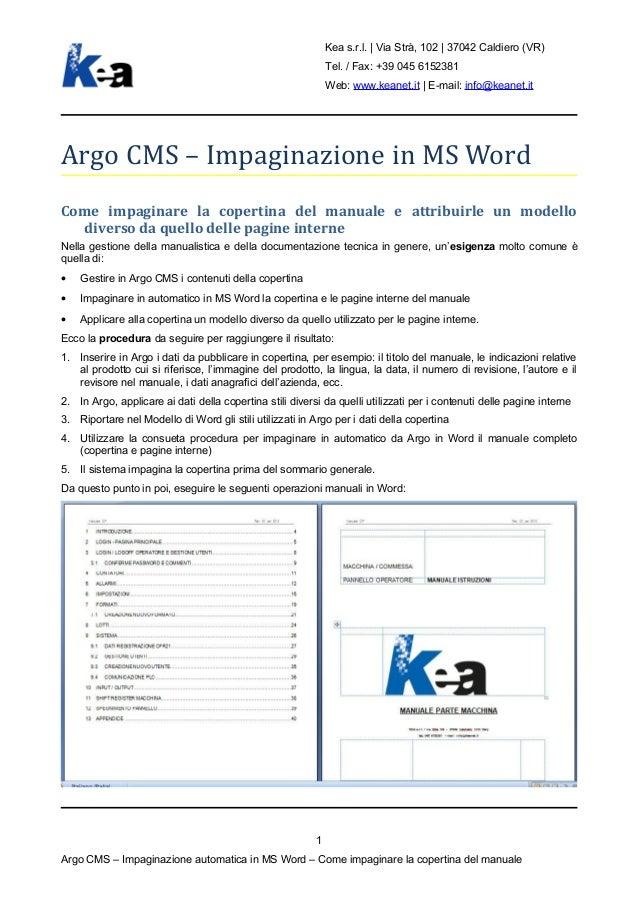 Come impaginare in automatico la copertina del manuale in Word da Argo CMS