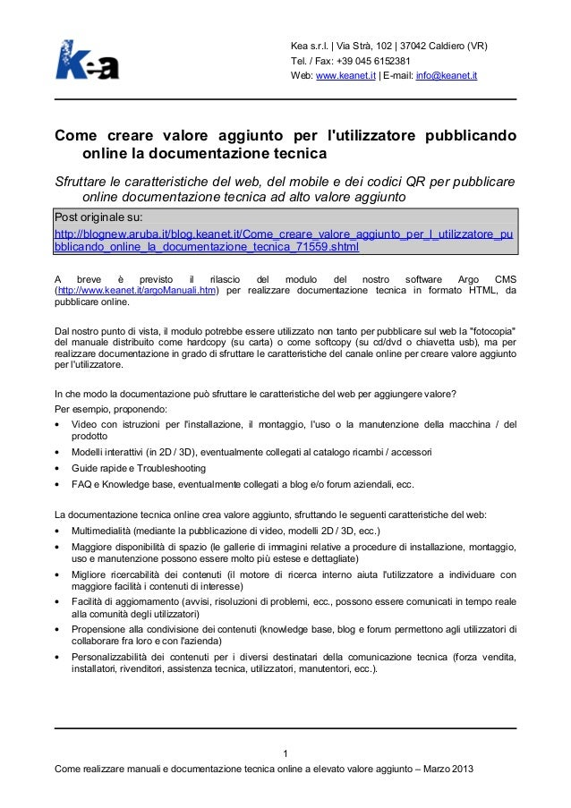 Kea s.r.l.   Via Strà, 102   37042 Caldiero (VR)                                                            Tel. / Fax: +3...