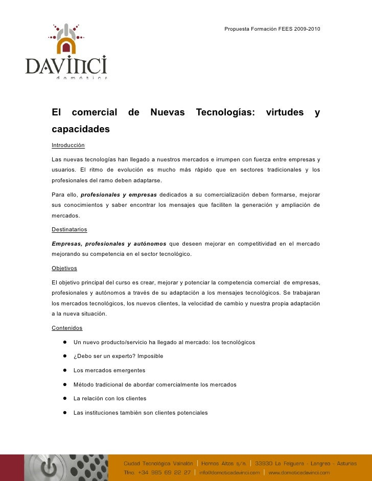 Propuesta Formación FEES 2009-2010     El       comercial           de         Nuevas        Tecnologías:             virt...
