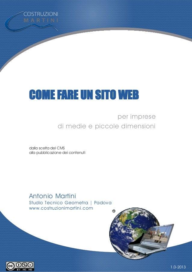 COME FARE UN SITO WEB per imprese di medie e piccole dimensioni dalla scelta del CMS alla pubblicazione dei contenuti Anto...