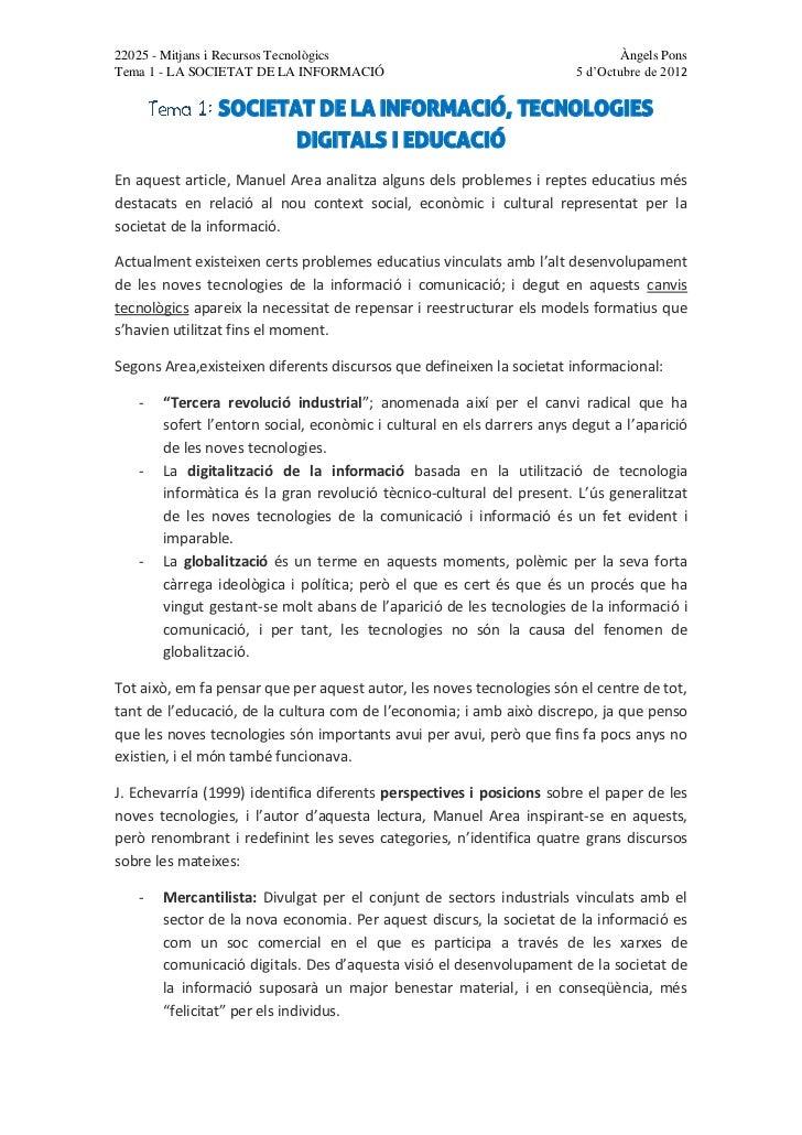 SOCIETAT DE LA INFORMACIÓ, TECNOLOGIES DIGITALS I EDUCACIÓ