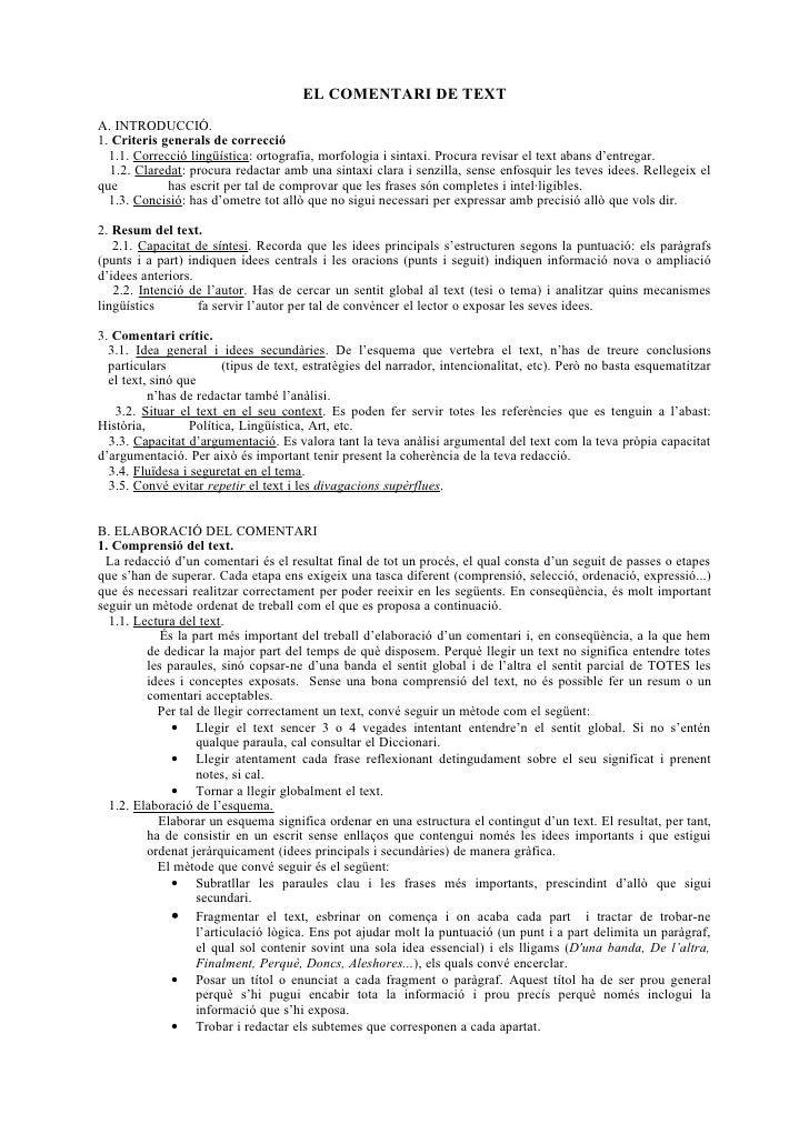 EL COMENTARI DE TEXT A. INTRODUCCIÓ. 1. Criteris generals de correcció   1.1. Correcció lingüística: ortografia, morfologi...