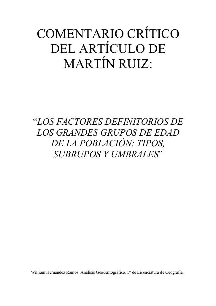 """COMENTARIO CRÍTICO     DEL ARTÍCULO DE      MARTÍN RUIZ: """"LOS FACTORES DEFINITORIOS DE  LOS GRANDES GRUPOS DE EDAD    DE L..."""