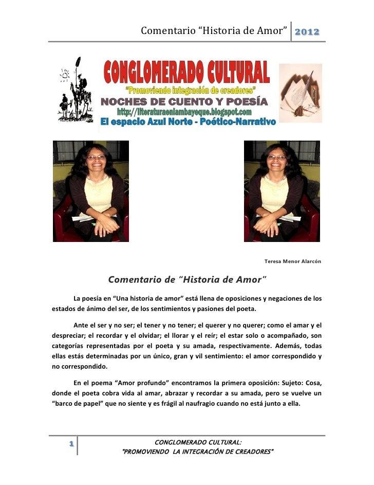 """Comentario """"Historia de Amor"""" 2012                                                                       Teresa Menor Alar..."""