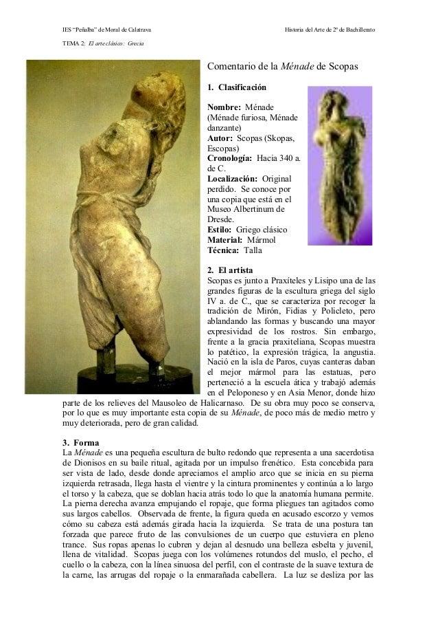 """IES """"Peñalba"""" de Moral de Calatrava Historia del Arte de 2º de Bachillerato TEMA 2: El arte clásico: Grecia Comentario de ..."""