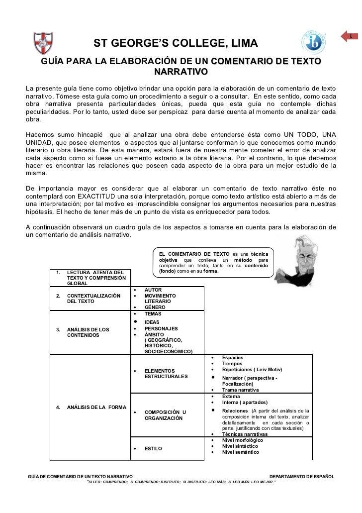 1                            ST GEORGE'S COLLEGE, LIMA     GUÍA PARA LA ELABORACIÓN DE UN COMENTARIO DE TEXTO             ...