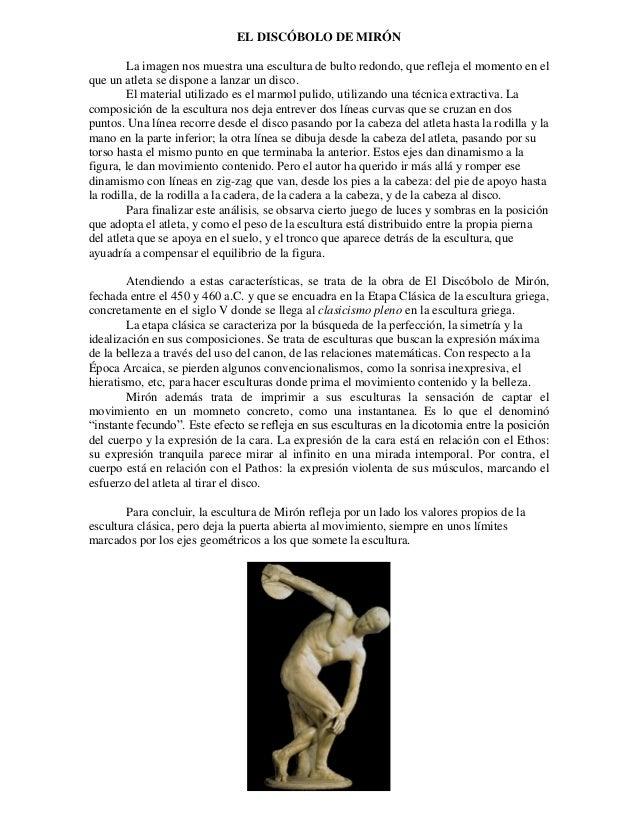 EL DISCÓBOLO DE MIRÓN La imagen nos muestra una escultura de bulto redondo, que refleja el momento en el que un atleta se ...