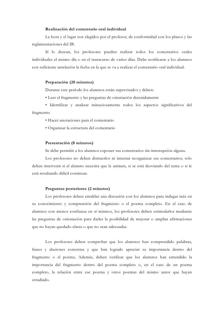 Realización del comentario oral individual        La hora y el lugar son elegidos por el profesor, de conformidad con los ...