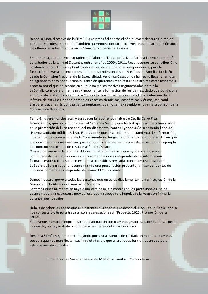 Desde la junta directiva de la SBMFiC queremos felicitaros el año nuevo y desearos lo mejorpersonal y profesionalmente. Ta...