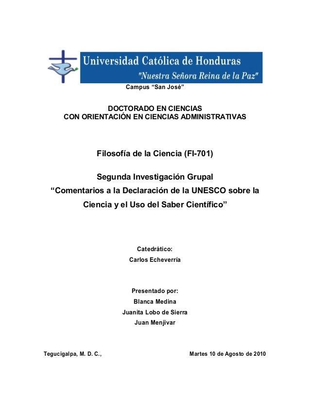 """Campus """"San José""""  DOCTORADO EN CIENCIAS CON ORIENTACIÓN EN CIENCIAS ADMINISTRATIVAS  Filosofía de la Ciencia (FI-701) Seg..."""