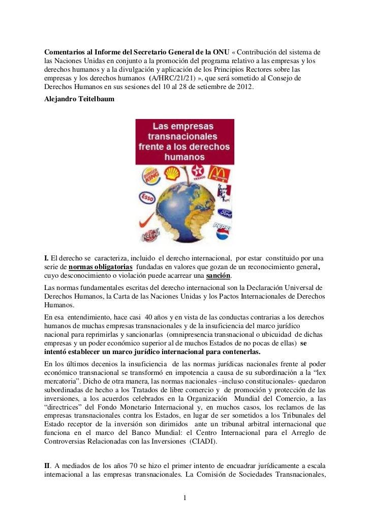 Comentarios al Informe del Secretario General de la ONU « Contribución del sistema delas Naciones Unidas en conjunto a la ...