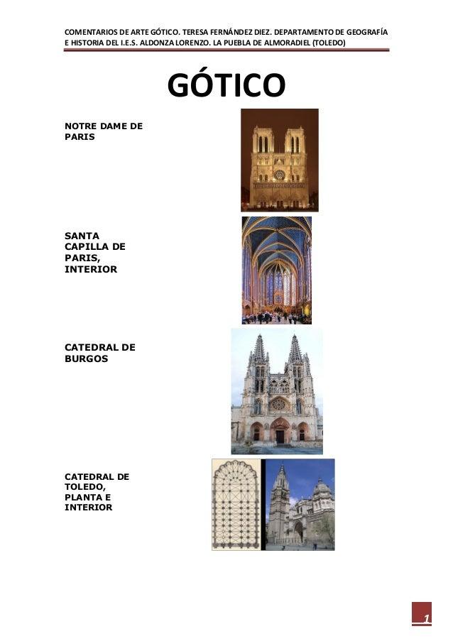 COMENTARIOS DE ARTE GÓTICO. TERESA FERNÁNDEZ DIEZ. DEPARTAMENTO DE GEOGRAFÍAE HISTORIA DEL I.E.S. ALDONZA LORENZO. LA PUEB...