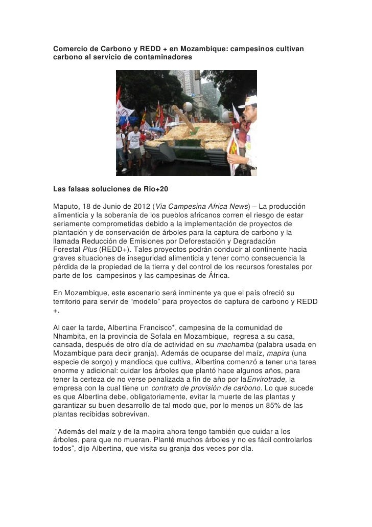 Comercio de Carbono y REDD + en Mozambique: campesinos cultivancarbono al servicio de contaminadoresLas falsas soluciones ...