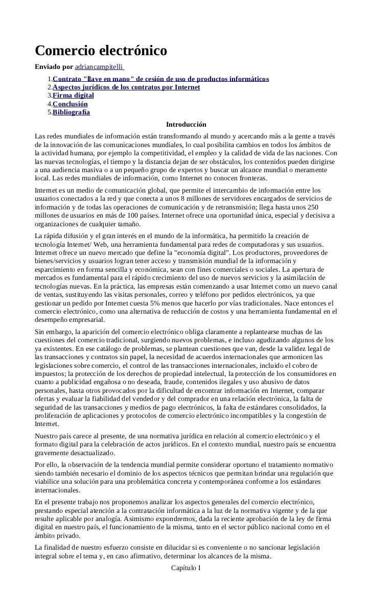 """Comercio electrónicoEnviado por adriancampitelli    1.Contrato """"llave en mano"""" de cesión de uso de productos informáticos ..."""