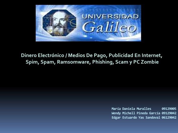 Dinero Electrónico / Medios De Pago, Publicidad En Internet,<br />Spim, Spam, Ramsomware, Phishing, Scam y PC Zombie<br />...