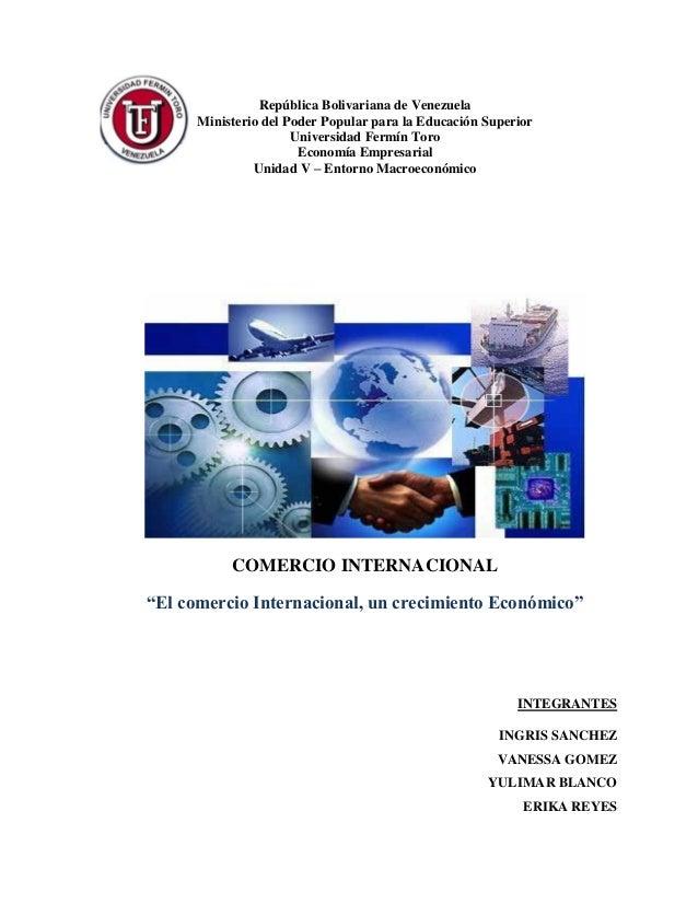 República Bolivariana de Venezuela Ministerio del Poder Popular para la Educación Superior Universidad Fermín Toro Economí...