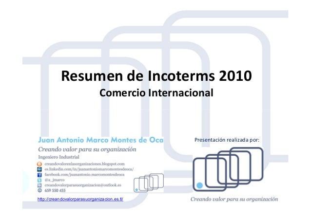 Resumen de Incoterms 2010 Comercio Internacional http://creandovalorparasuorganizacion.es.tl/ Presentación realizada por: