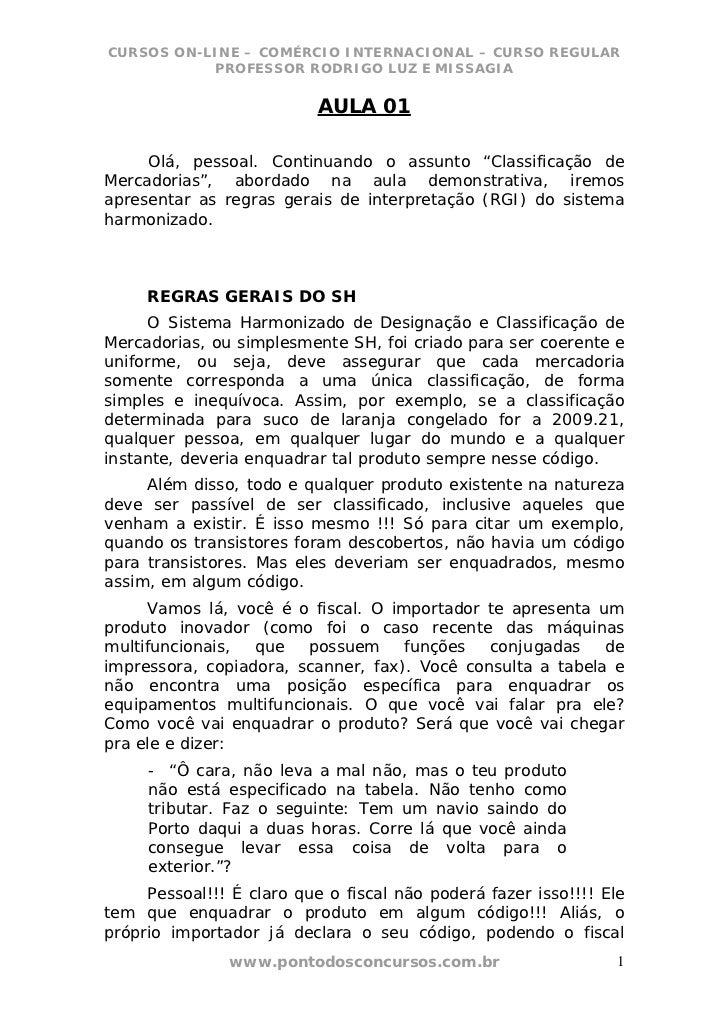 CURSOS ON-LINE – COMÉRCIO INTERNACIONAL – CURSO REGULAR           PROFESSOR RODRIGO LUZ E MISSAGIA                        ...