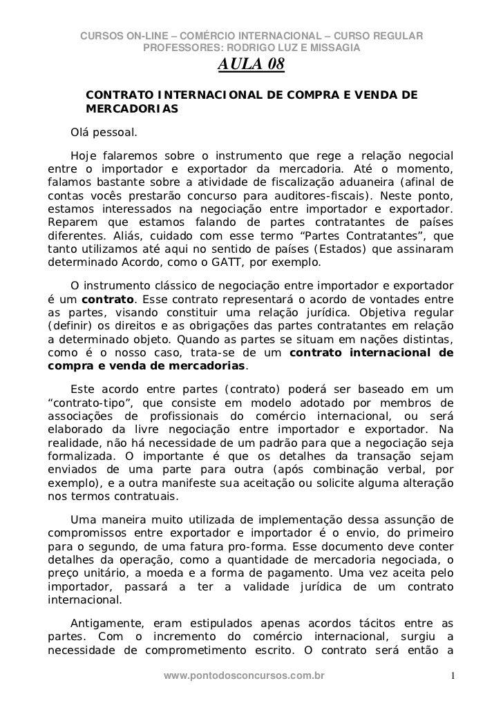 CURSOS ON-LINE – COMÉRCIO INTERNACIONAL – CURSO REGULAR              PROFESSORES: RODRIGO LUZ E MISSAGIA                  ...