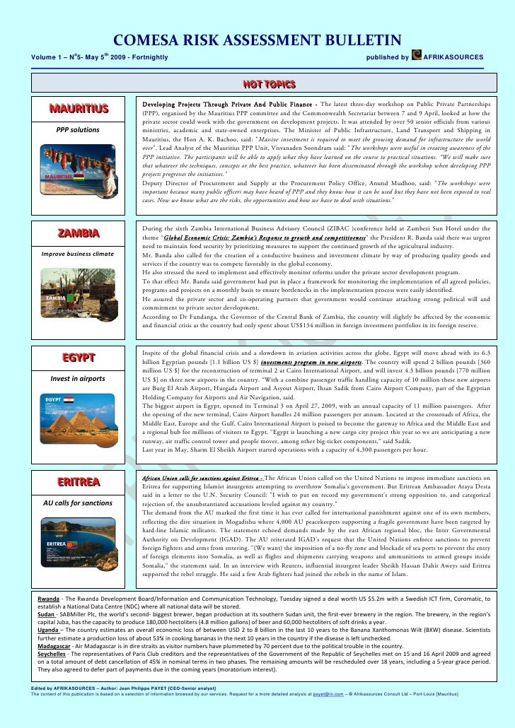 COMESARISKASSESSMENTBULLETIN                     o             th Volume 1 – N 5- May 5 2009 - Fortnightly            ...