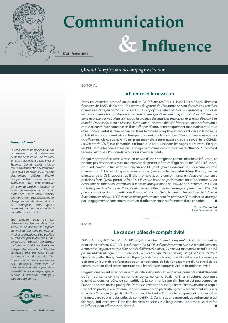 Communication                                        & Influence                                       N°23 - Février ...