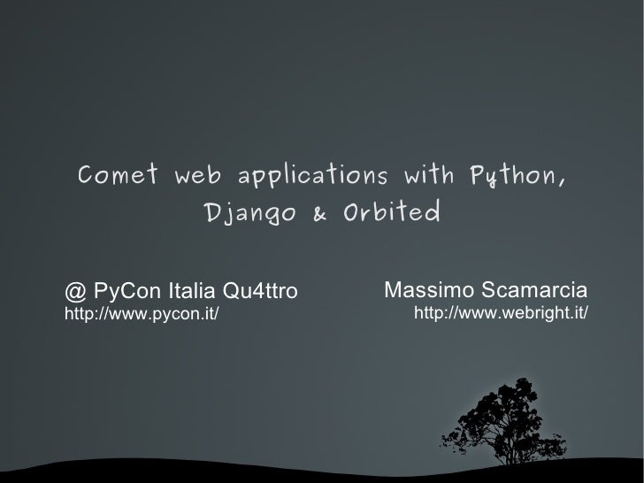 Comet web applications with Python, Django & Orbited