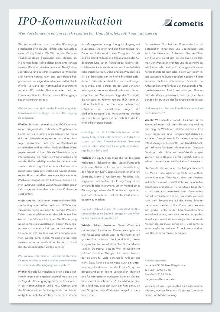 IPO-KommunikationWie Vorstände in einem stark regulierten Umfeld effektvoll kommunizierenDie Kommunikation rund um den Bör...