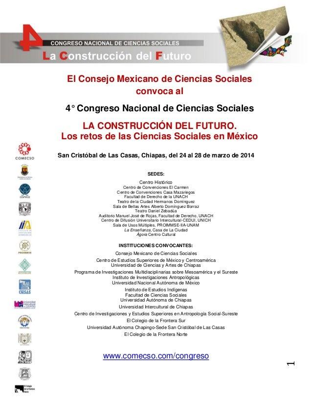 4o Congreso Nacional de Ciencias Sociales