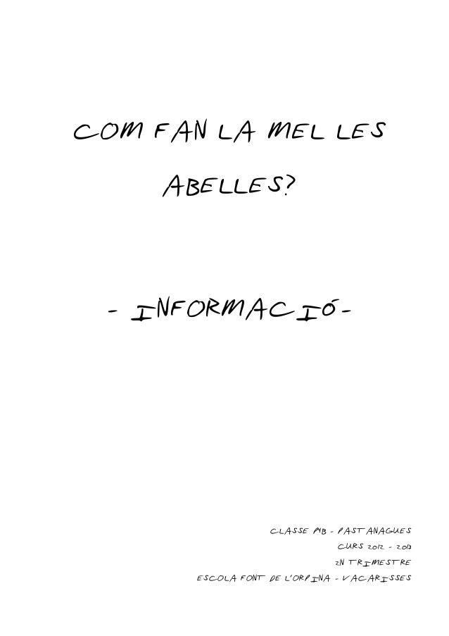 COM FAN LA MEL LES    ABELLES? - INFORMACIÓ-                   CLASSE P4B - PASTANAGUES                                CUR...