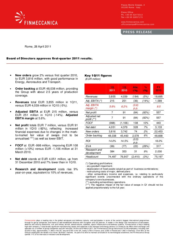 Finmeccanica: Board of Directors approves first-quarter 2011 result