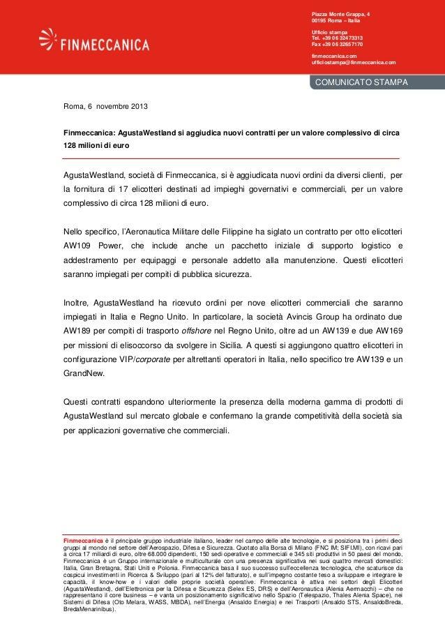 Finmeccanica: AgustaWestland si aggiudica nuovi contratti per un valore complessivo di circa 128 milioni di euro