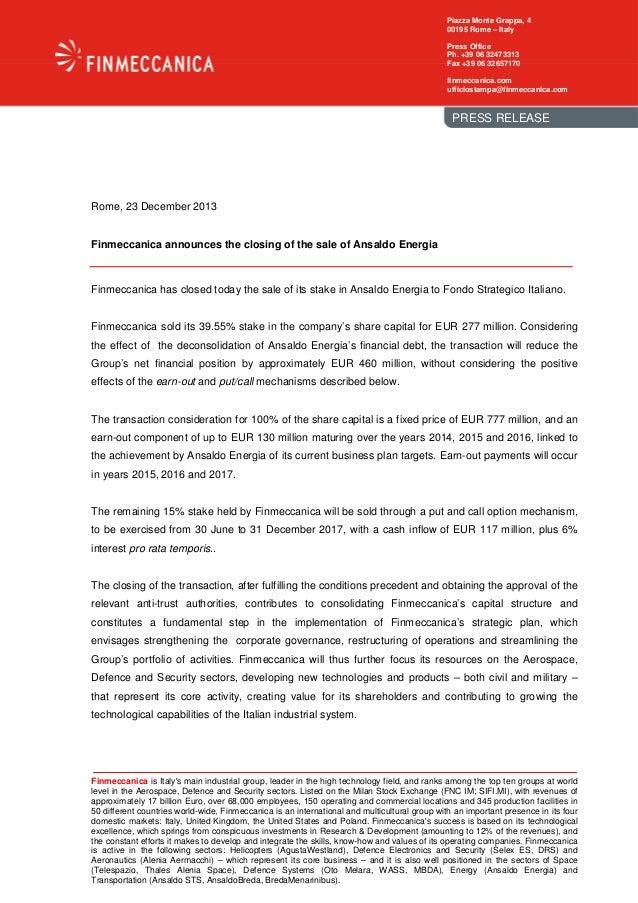 Piazza Monte Grappa, 4 00195 Rome – Italy Press Office Ph. +39 06 32473313 Fax +39 06 32657170 finmeccanica.com ufficiosta...