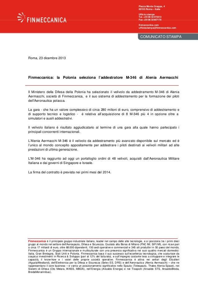 Finmeccanica: La Polonia seleziona l'addestratore M-346 di Alenia Aermacchi