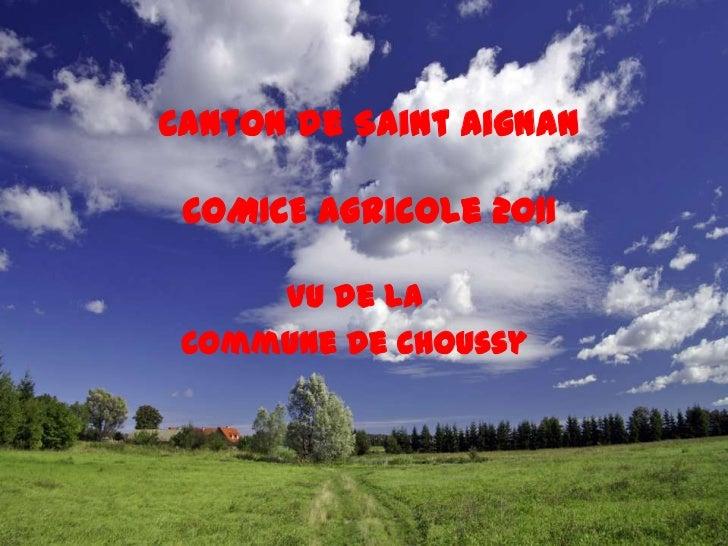 Canton de Saint AignanCOMICE Agricole 2011<br />Vu de la<br />Commune de Choussy<br />