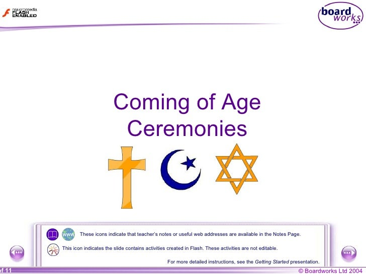 Coming of Age Ceremonies These icons indicate that teacher's notes or useful web addresses are available in the Notes Page...