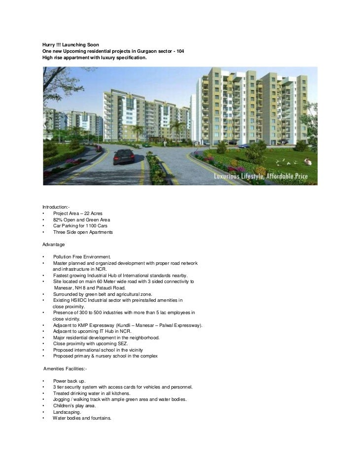upcoming residential projects on Dwarka expressway Gurgaon104 Residential 9540009153