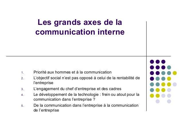 Les grands axes de la communication interne  1. 2.  3. 4.  5.  Priorité aux hommes et à la communication L'objectif social...