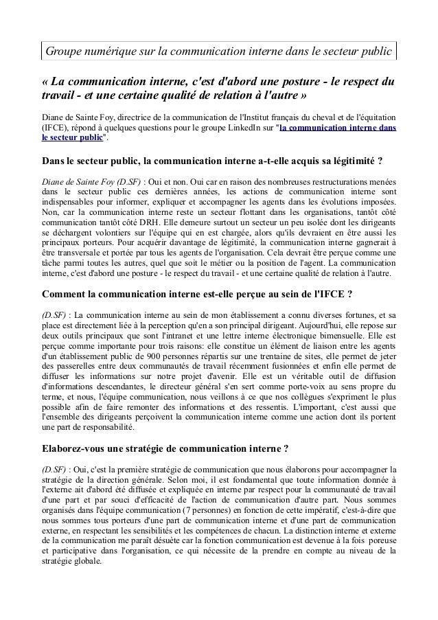 Groupe numérique sur la communication interne dans le secteur public  « La communication interne, c'est d'abord une postur...