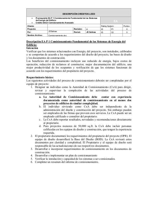 DESCRIPCIÓN CREDITOS LEED       •   Prerrequisito EA P 1 Comisionamiento Fundamental de los Sistemas           de Energía ...