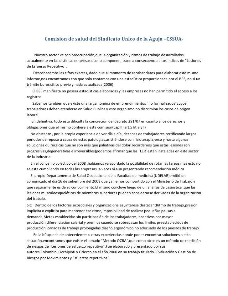 Comision de salud del Sindicato Unico de la Aguja –CSSUA-<br />        Nuestro sector ve con preocupación,que la organizac...