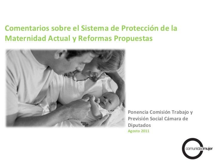 Ponencia Comisión Trabajo y Previsión Social Cámara de Diputados Agosto 2011 Comentarios sobre el Sistema de Protección de...