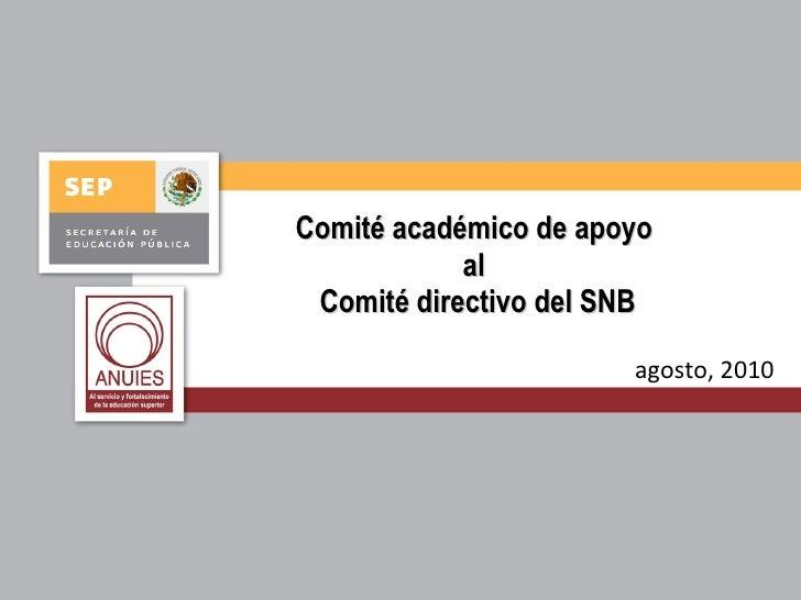 Comité académico de apoyo al  Comité directivo del SNB agosto, 2010