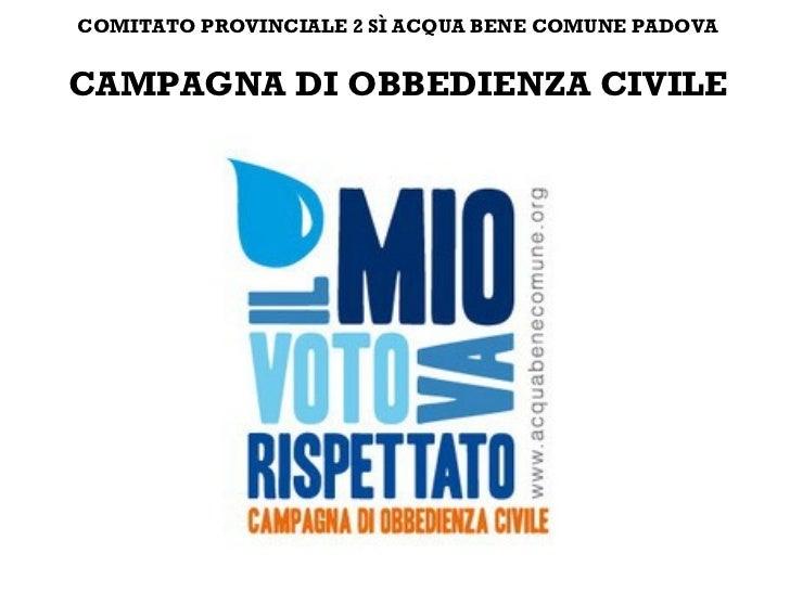 Comitato provinciale 2 si acqua bene comune Padova