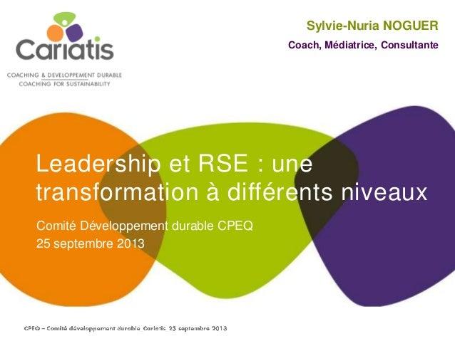 Leadership et RSE : une transformation à différents niveaux Comité Développement durable CPEQ 25 septembre 2013 Sylvie-Nur...