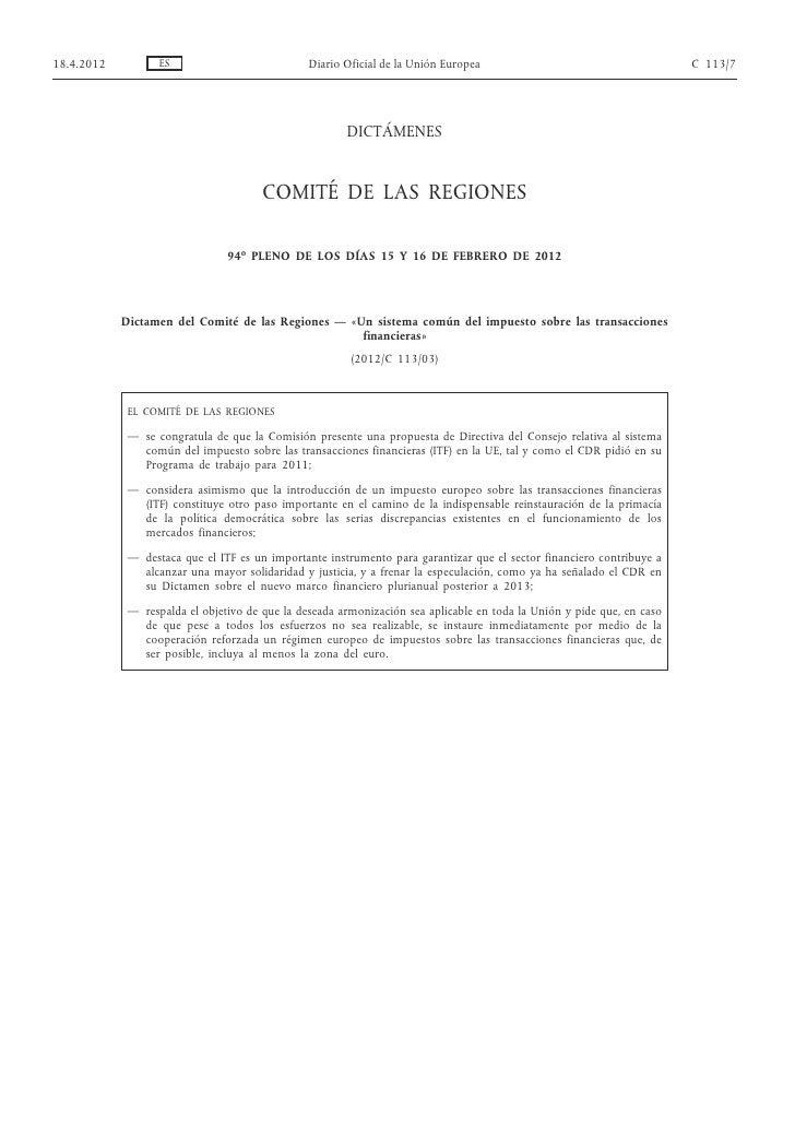 Comité de las regiones on FTT