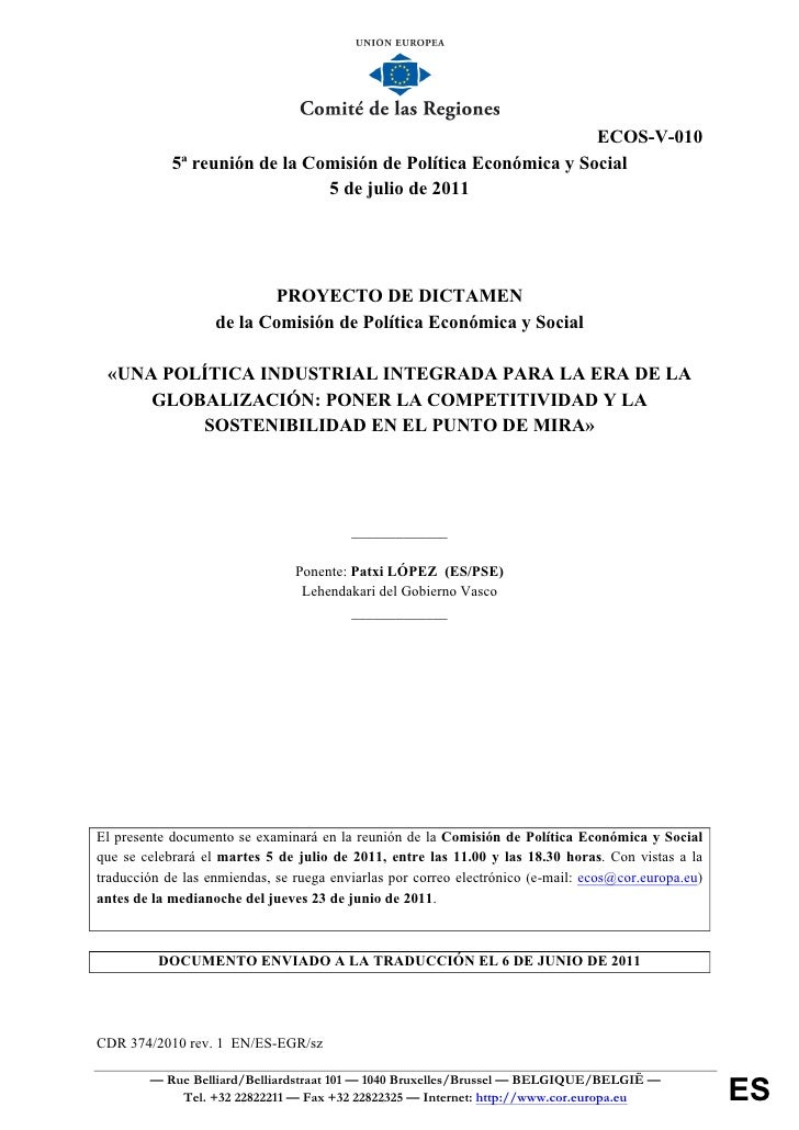 ECOS-V-010            5ª reunión de la Comisión de Política Económica y Social                               5 de julio de...