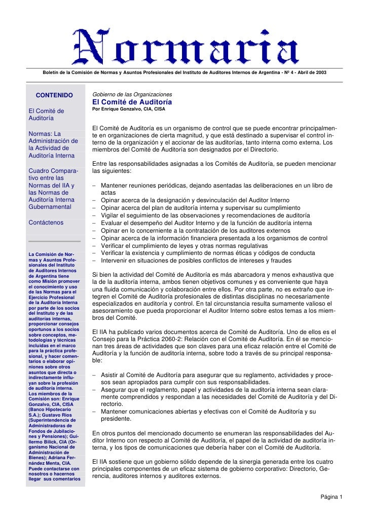 Boletín de la Comisión de Normas y Asuntos Profesionales del Instituto de Auditores Internos de Argentina - Nº 4 - Abril d...