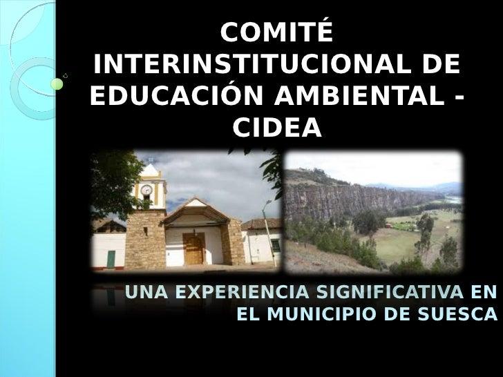 COMITÉ INTERINSTITUCIONAL DE EDUCACIÓN AMBIENTAL -         CIDEA      UNA EXPERIENCIA SIGNIFICATIVA EN           EL MUNICI...