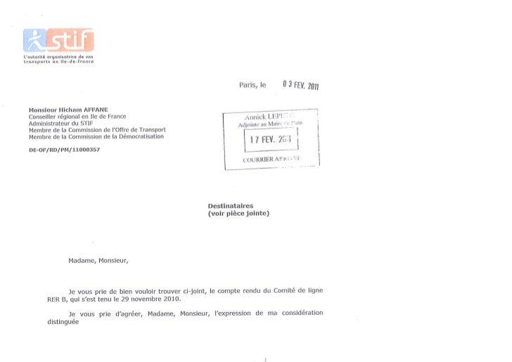 Compte rendu du Comite ligne RER B du 29 novembre 2010